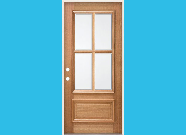 4 Lite Mahogany Wood Entry